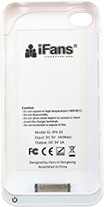 iFans Slim-fit Battery Case Charger Cover For Apple iPhone 4/4S White Battery Casing EL-IP4-01