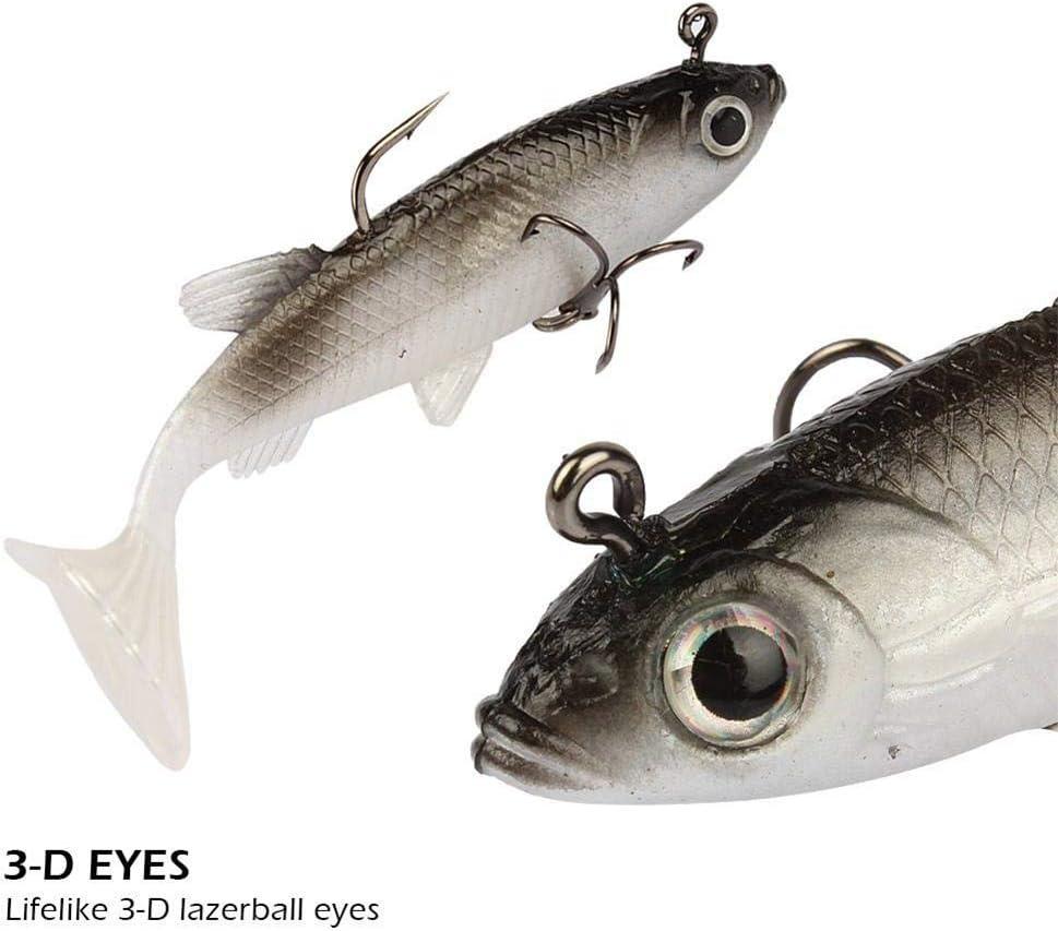 Ntribut 5 Piezas Caucho Suave Cebo De Pesca Anzuelos De Pesca Forma De Pescado Cebo Artificial Cebo Suave Cabeza De Plomo para Juegos De Pesca con Mosca Carretes De Pesca