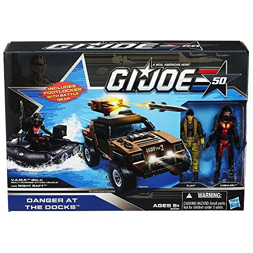 G.I. Joe 50th Anniversary Danger at the Docks 2014 SDCC Exclusive with Cobra Night Raft, VAMP Mark II Attack Vehicle (Brown Version), Flint & Cobra Eel Action Figures ()