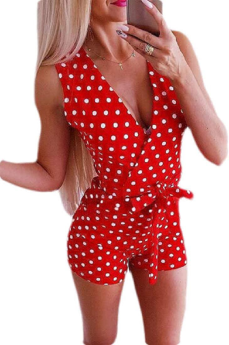 Fubotevic Womens Jumpsuits V-Neck Polka Dot Print Sleeveless Short Jumpsuit Romper