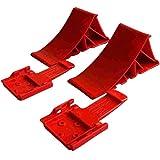 Komplett Set: Unterlegkeile incl. Halter 2 Stück rot - 1600 kg - Bremskeil Anhänger Keile bis 1.6t