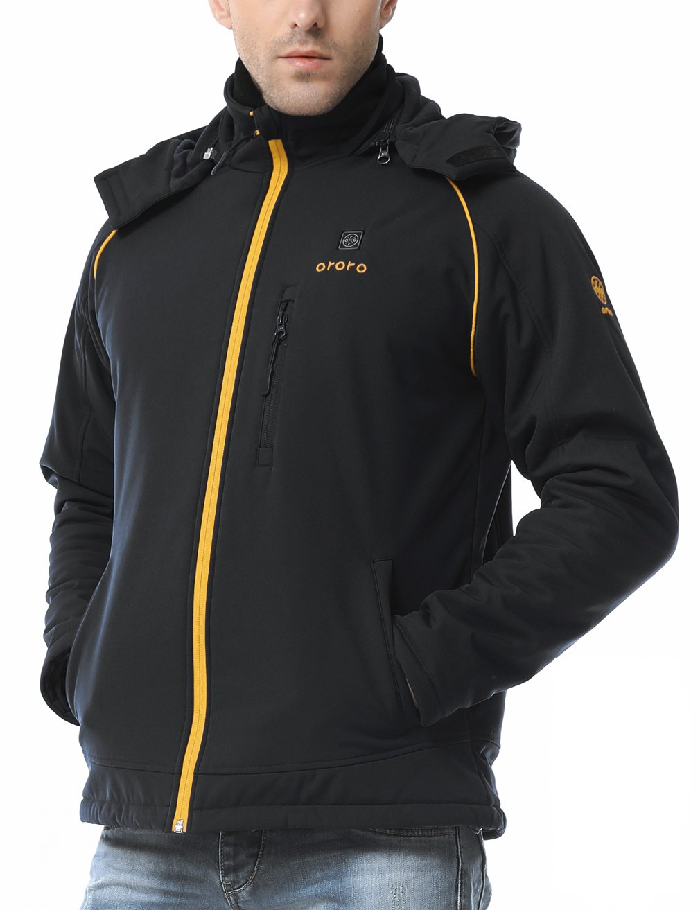 ororo Men's Soft Shell Heated Jacket Kit With Detachable Hood and Battery Pack (Black/Gold,XL) by ororo