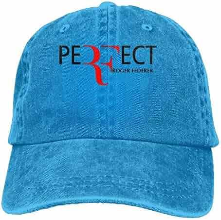 MDFY OEWGRF Roger Federer Adult Hats Unisex Fashion Plain Cool Adjustable  Denim Jeans Baseball Cap Cowboy 946cd4a1628b
