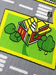 Bopstyle Carpets City Life Play Mat with Town, Police and Roads for Children Learning