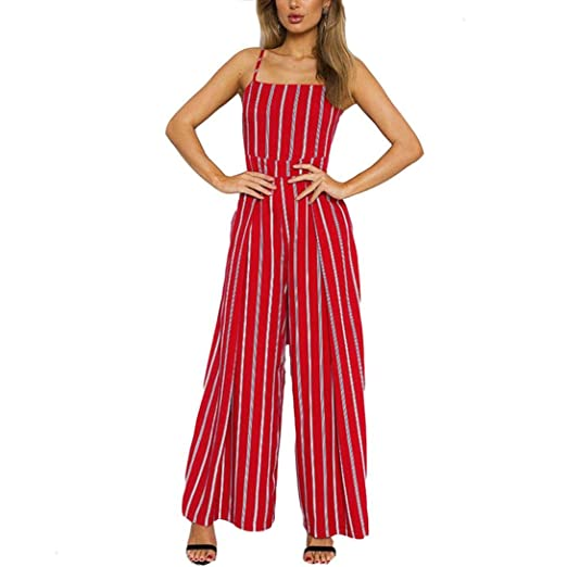 53540772124f Bravetoshop Casual Vertical Striped Jumpsuit Strap Sleeveless Romper Red  Summer (Red