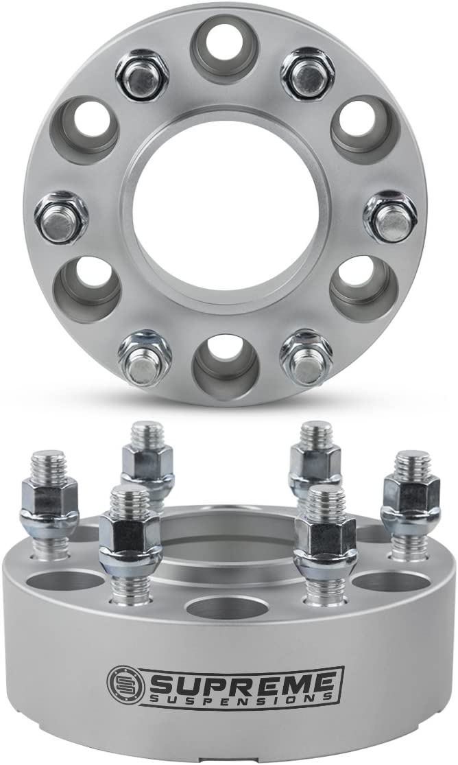 2pc 1.5 Hub Centric Wheel Spacers for 2005-2015 Nissan Xterra 2WD 4WD 6x114.3mm BP with M12x1.25 Studs 66.1mm Center Bore w//Lip Silver Supreme Suspensions
