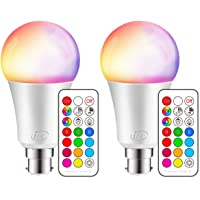 iLC Colour Changing Light Bulb Dimmable 10W B22 Bayonet RGBW LED Light Bulbs - 12 Color Choices - Remote Controller Included for Home/Decoration/Bar/Party/KTV (Pack of 2)