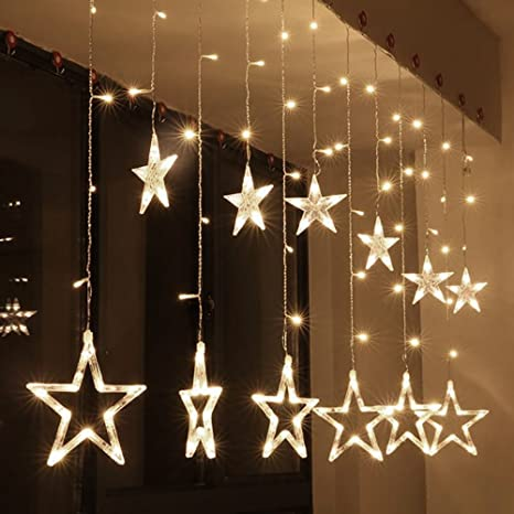 led star curtain string light 8 flashing modes christmas window lights with 12 stars 138