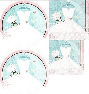 Something Blue Bridal Shower Tableware Set (108 Pcs)  sc 1 st  Amazon.com & Amazon.com: Bridal Wedding Shower Sturdy Paper Plates and Napkins ...