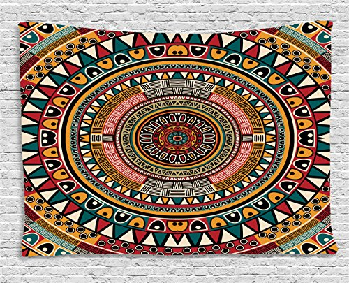 Ambesonne Tribal Decor Tapestry, African Folkloric Tribe Round Pattern with Ethnic Colors Aztec Art, Wall Hanging for Bedroom Living Room Dorm, 60 W X 40 L Inches, Jade Ruby and Mustard