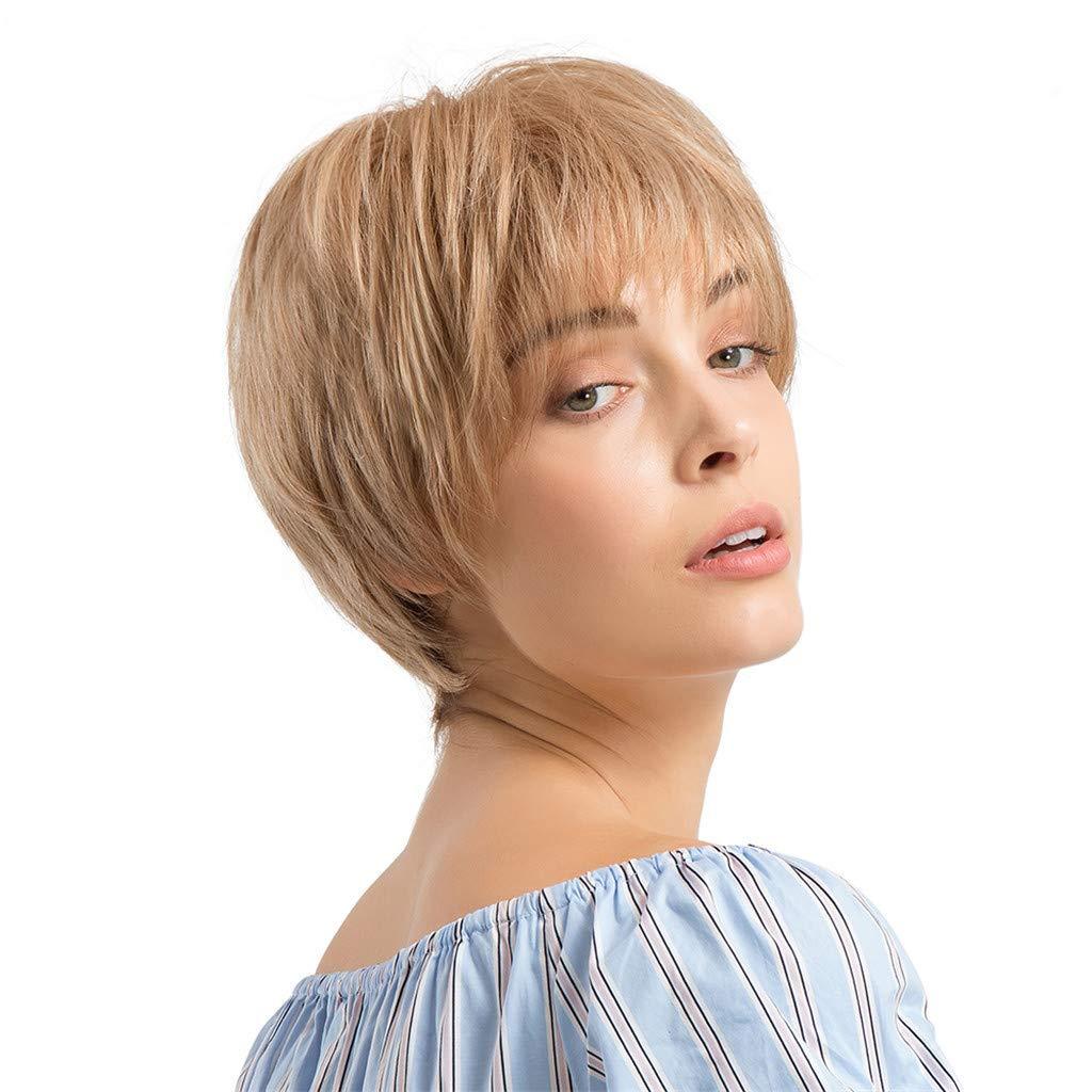 Sencillo Vida Pelucas Mujer Pelo Natural Wigs Corto Ondulado ...