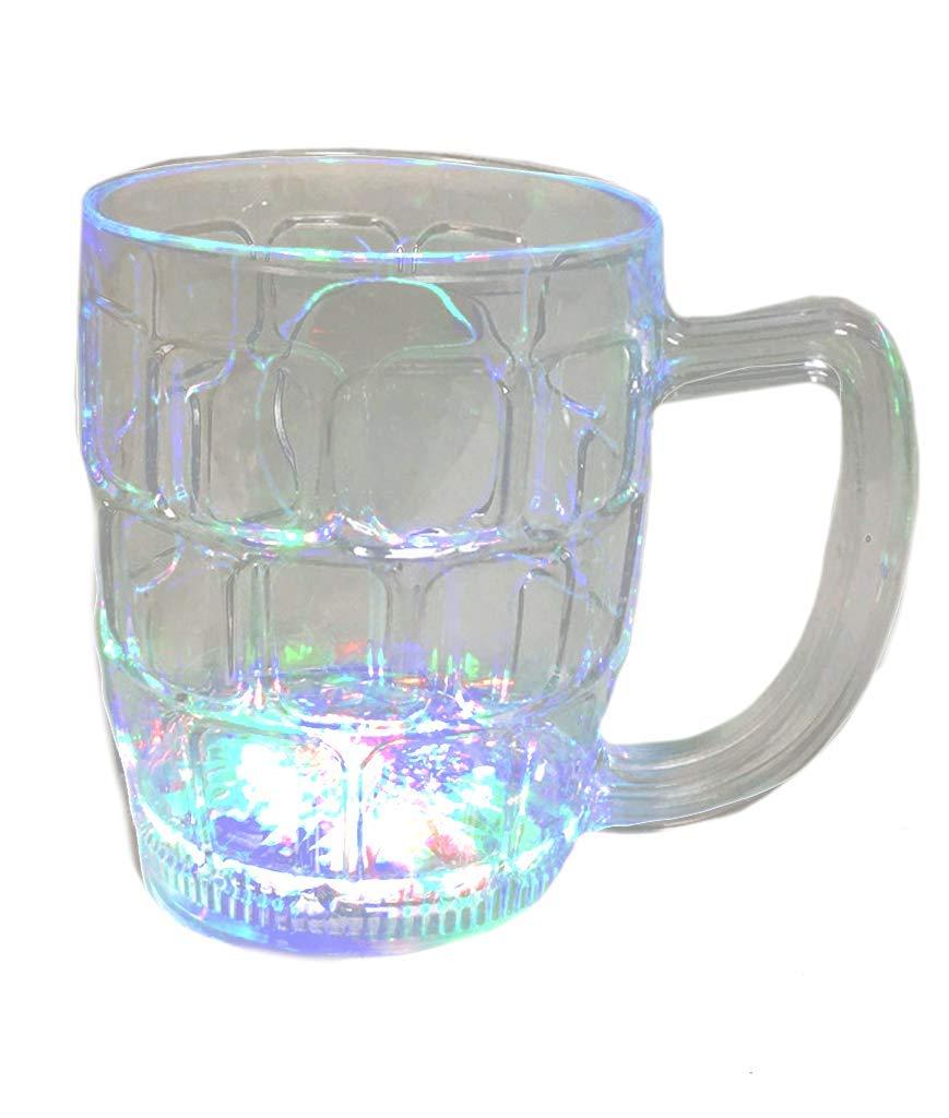 LED Beer Mugs Men Fun Central I777 Birthday Glass Beer Mugs Christmas Glow in the Dark Beer Mug Weddings Father/'s Day Celebration COMINHKPR13002 New Year 16 oz LED Light Up Flashing Beer Mug