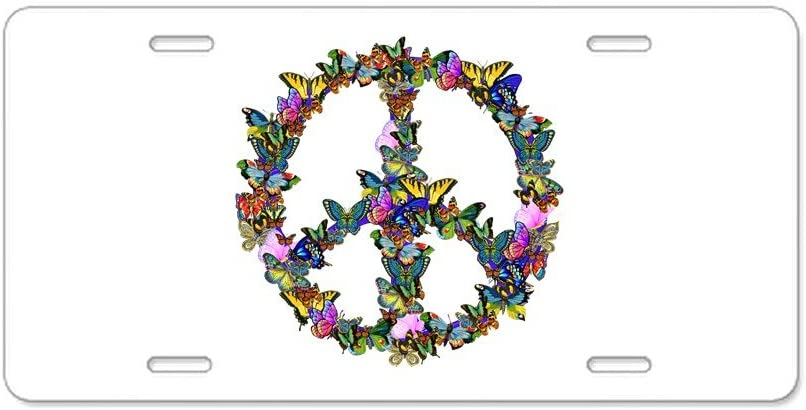 Vanity Tag CafePress Hippie Flowery Peace Sign Aluminum License Plate Front License Plate Aluminum License Plate