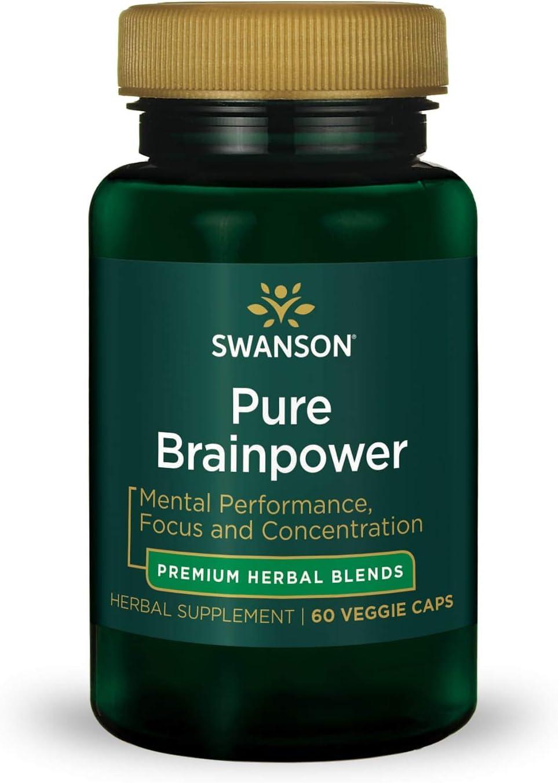 Swanson Pure Brainpower Brain Health Cognitive Memory Focus Support Brain-Derived Neurotrophic Factor (BDNF) Herbal Supplement (Ginkgo Biloba, Bacopa Monnieri) 60 Veggie Capsules (Veg Caps) Vegan