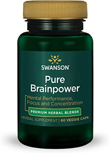 Swanson Pure Brainpower Brain Health Cognitive Memory Focus Support Brain-Derived Neurotrophic Factor BDNF Herbal Supplement Ginkgo Biloba, Bacopa Monnieri 60 Veggie Capsules Veg Caps Vegan