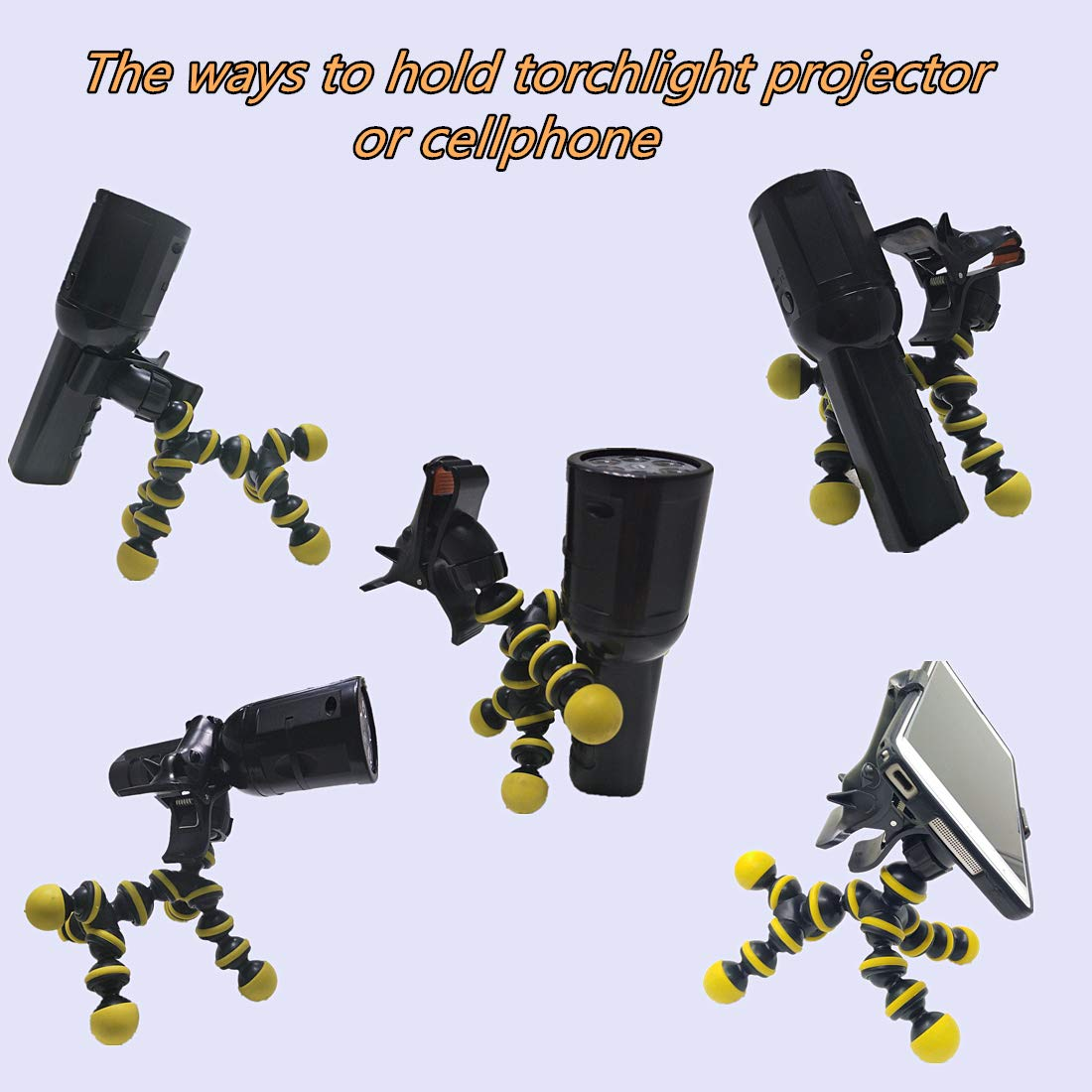 PEYING SOURCE Clip de Celular de Teléfono Linterna Proyector Soporte 360 Libre Rotación Flexible