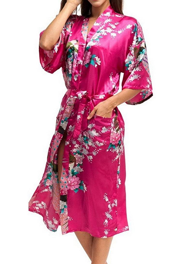 FEOYA Women's Satin Kimono Robe Peacock & Blossoms Printing Nightwear, Long Red Size YG9FS2224