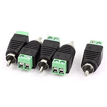 5 Pcs Speaker RCA Wire to AV Phono Male RCA Connector Jack Adapter ...