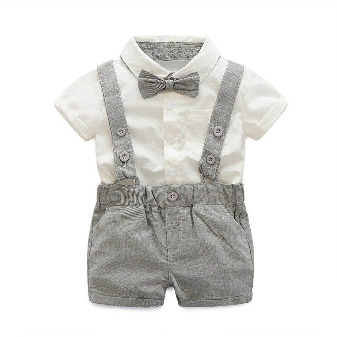 Baby Boy 2Pcs Gentleman Bow Tie Cotton T-shirt Suspenders Shorts Set (6-12Months, Grey)