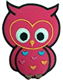 Parches - búho animal niños - rosa - 6.7x9.0cm - termoadhesivos bordados aplique para ropa