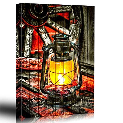 Bingigo Canvas Prints Wall Art Paintings - Painted Lantern on Wood Background Glowing Yellow - Wagon Wheel and Vintage Woodgrain - Rustic Country Still Life - Canvas Art Home Decor - 16