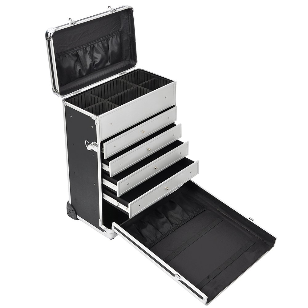 Aw Pro Rolling Jewelry Makeup Case W Drawers Code Lock Aluminum