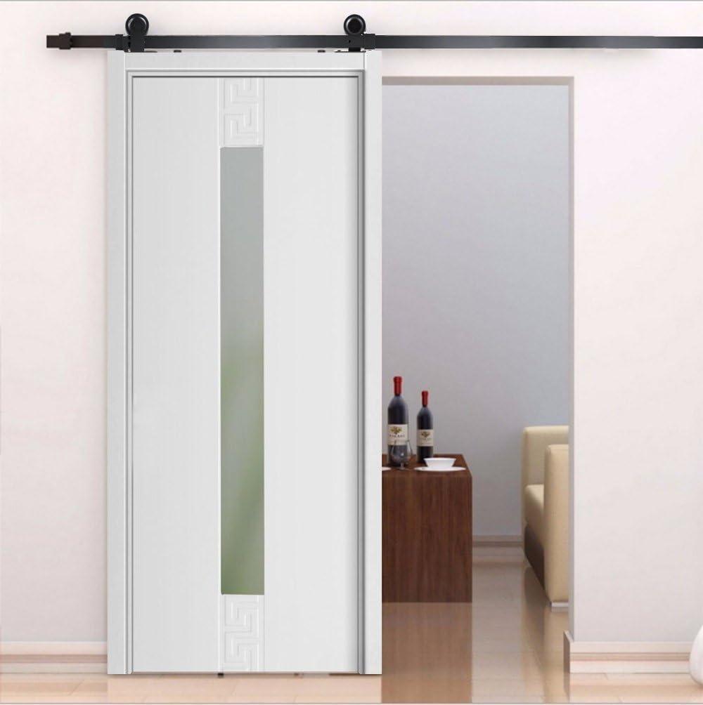 Yosoo Kit de puerta corrediza Polea de Rail suspendida sistema de puerta corredera conjunto completo para puertas interiores correderas tabiques granero armario Hardware de acero inoxidable, negro
