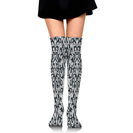 db7aa64fe248e Amazon.com: Stockings Black Flower Silver Amazing Womens Knee Thigh ...