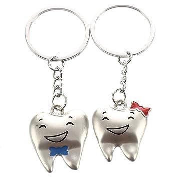 Llaveros de amantes - SODIAL(R)Llaveros Anillo de llave de colgante de diente de dibujos animados acento de lazo de par de amantes Tono plateado