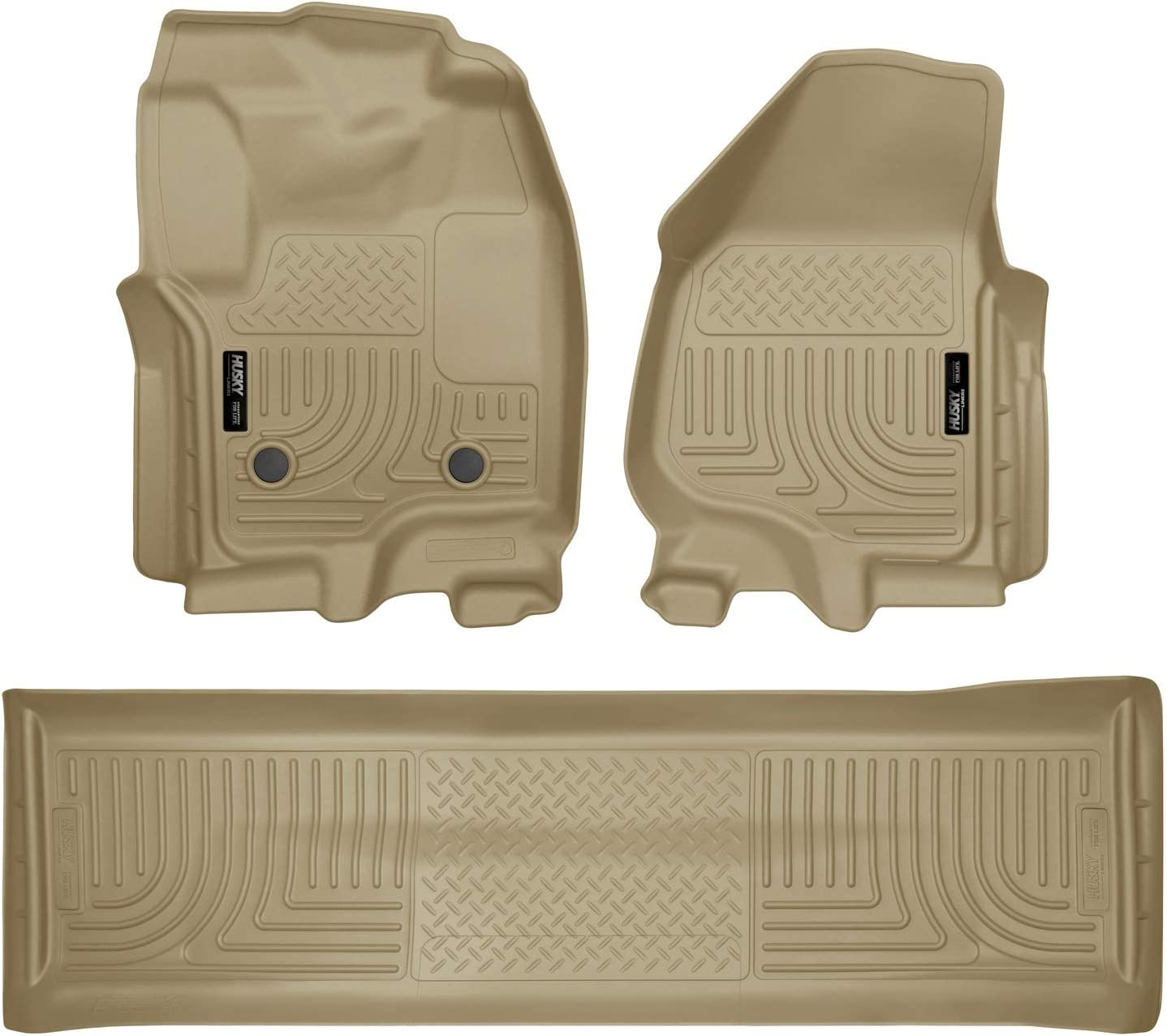 Husky Liners Fits 2012-16 Ford F-250/F-350 Crew Cab Weatherbeater Front & 2nd Seat Floor Mats (Footwell Coverage),Tan,99713