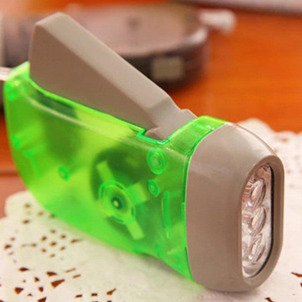 para deportes al aire libre linterna de emergencia LED recargable Linterna de mano con 3 ledes de dinamo rojo sin bater/ía camping