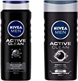 NIVEA MEN Hair, Face & Body Wash, Active Clean Shower Gel, 500ml and NIVEA MEN Hair, Face & Body Wash, Active Clean Shower Gel, 250ml
