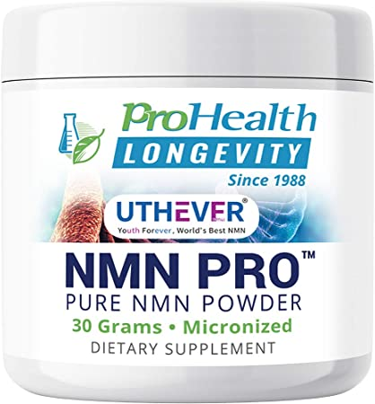 ProHealth Longevity Micronized NMN Pro Powder 30 Grams - Uthever Brand - World's Most Trusted, Ultra-Pure, stabilized, Pharmaceutical Grade NMN to Boost NAD+, Used in Human Clinical Research Trials