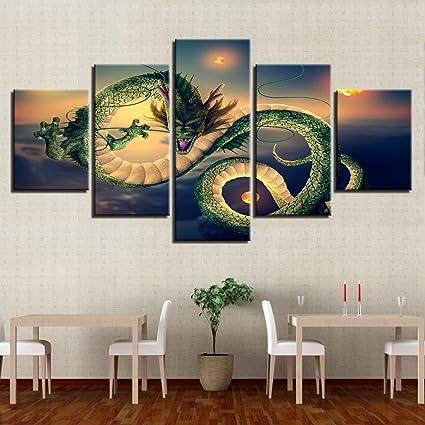 Amazon Com Ojkyk Dragon Ball Z Prints On Canvas 5 Panels Hd Print