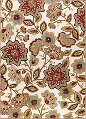 (Delphine Transitional Floral Cream Non-Skid Rectangle Area Rug, 7.6' x)