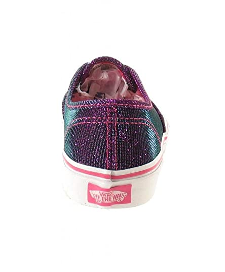 6078b66a0bcde Vans Girl's Authentic (Shimmer) Magenta/True White Skateboarding Shoes  VN000ZUQG8A