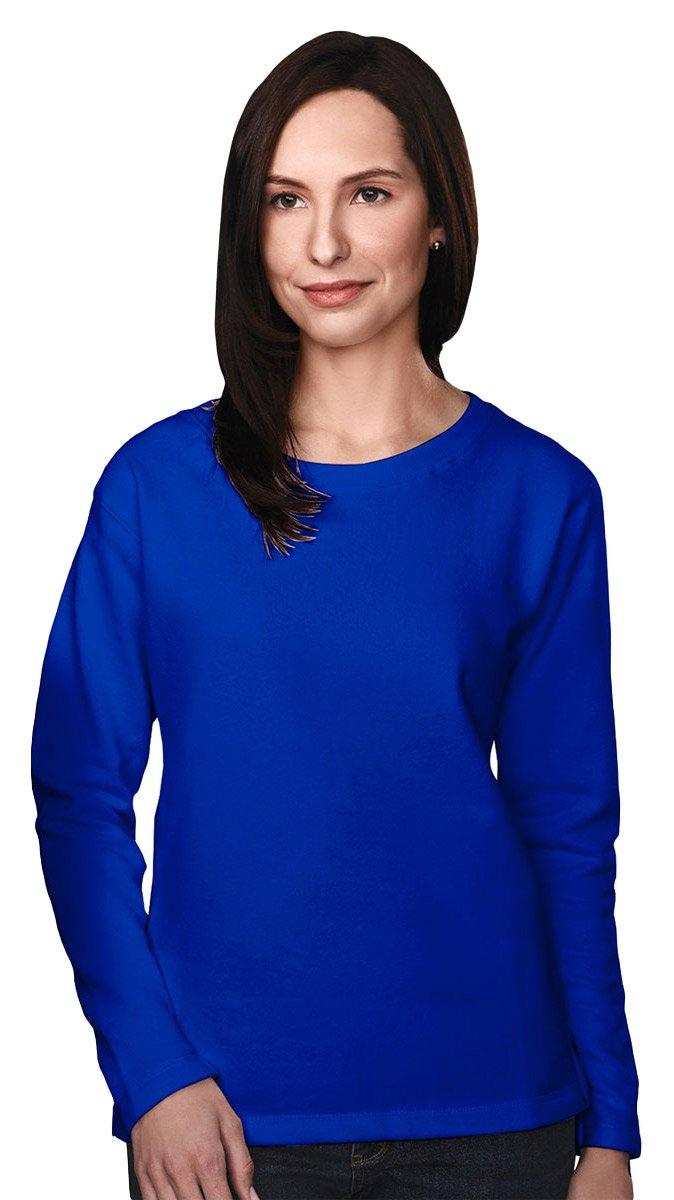 Tri-mountain Womens cotton/poly sueded finish crewneck sweatshirt. 672 - ROYAL_XL