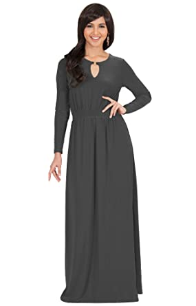 a290caba655 Koh Koh Womens Long Sleeve Sleeves Modest Flowy Fall Winter Formal Empire  Waist Evening Day Work
