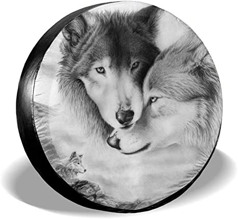 Belleeer Housses pneusTire Cover Wolf Potable Polyester Spare Wheel Tire Cover Wheel Covers for Jeep Trailer RV SUV Truck Camper Travel Trailer Accessories 14,15,16,17 inch