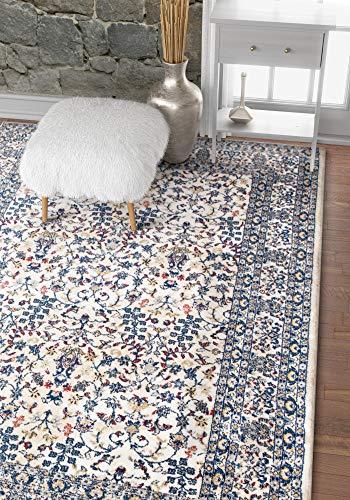 (Harir Damask Blue Vintage Panel Persian Floral Oriental Trellis Area Rug 8 x 11 (7'10