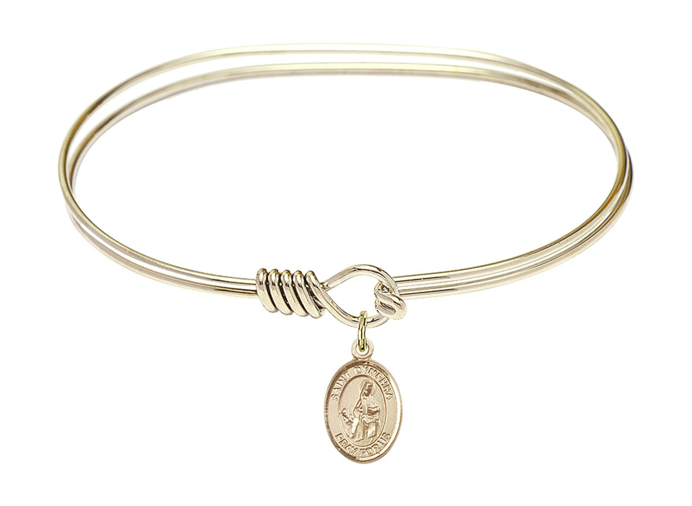 DiamondJewelryNY Eye Hook Bangle Bracelet with a St. Dymphna Charm.