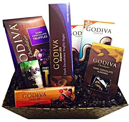 Godiva Dark Decadence Chocolate Gift Basket with Godiva Dark Sea Salt Bar, 72% Dark Tablet Bar, Dark Chocolate Raspberry Bar & More Plus Includes a Jarosa Chocolate Bliss Lip Balm