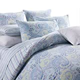Paisley Pattern 800 Thread Count 100% Cotton Duvet Cover 4Pcs Flat Sheet Set,Queen Size,Blue