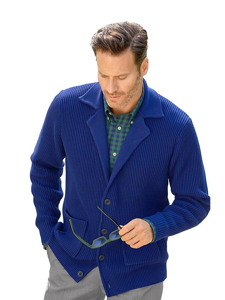 Paul Fredrick Men's Cotton Textured Cardigan Sweater Navy 3xl