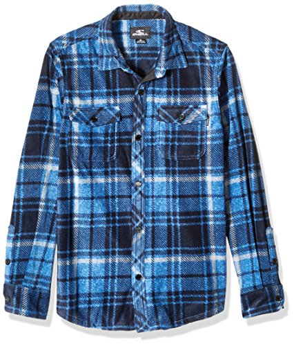 O'Neill Boys' Big Glacier Plaid Long Sleeve Woven, Dark Blue, L