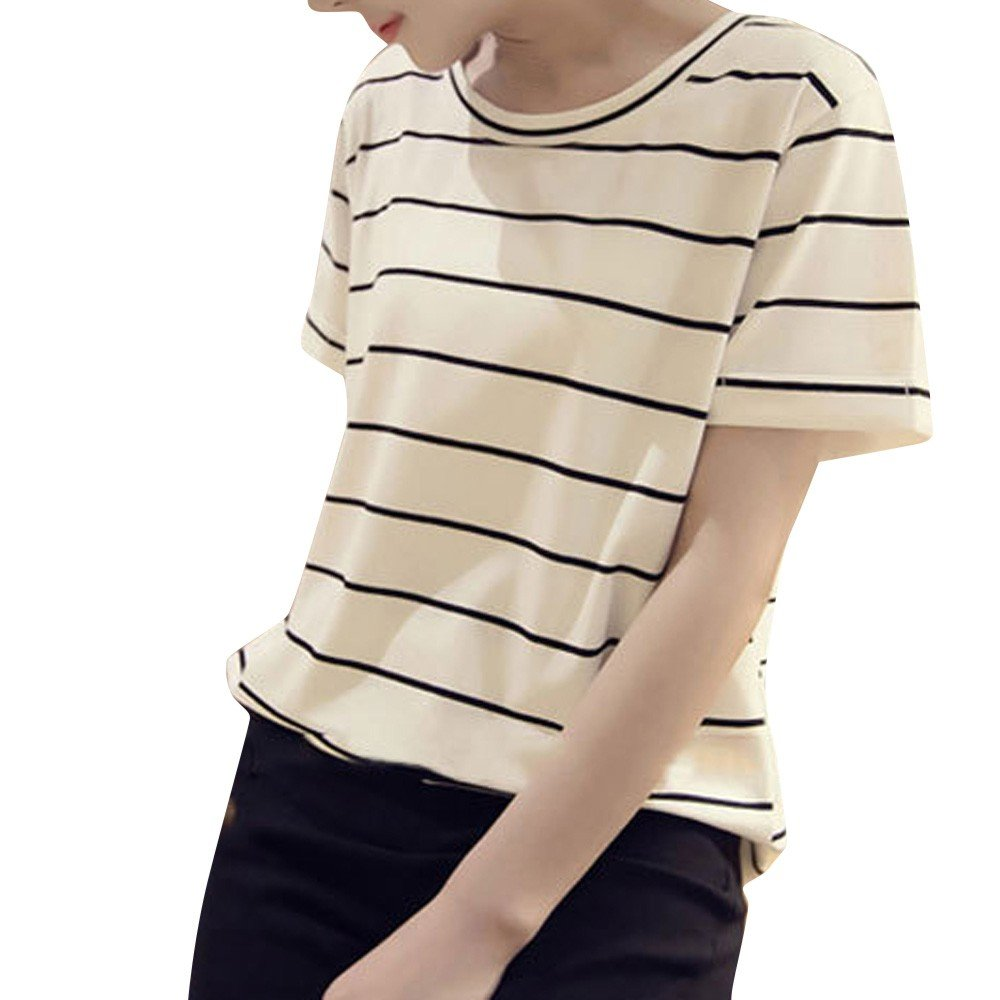 Libermall Women's Casual Summer Short Sleeve T-Shirts Round Neck Stripe Printed Loose Tunic Shirt Blouse Tops White