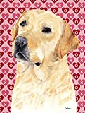Caroline's Treasures SC9263CHF Labrador Yellow Hearts Love Valentine's Day Flag Canvas, Large, Multicolor