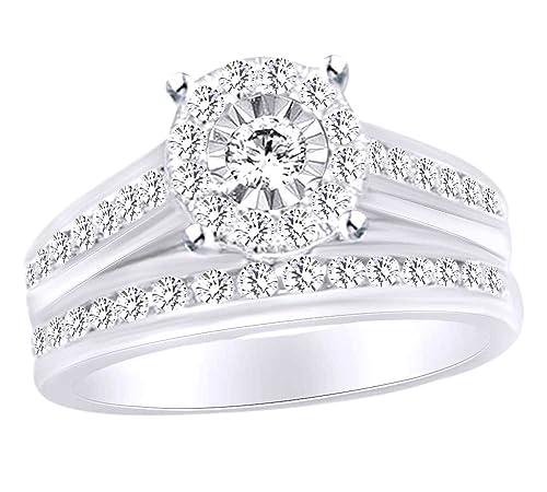 Juego de anillos de boda con forma redonda de diamante blanco natural en oro blanco sólido de 10 quilates (1,25 quilates) - WG-Q 1/2: Amazon.es: Joyería