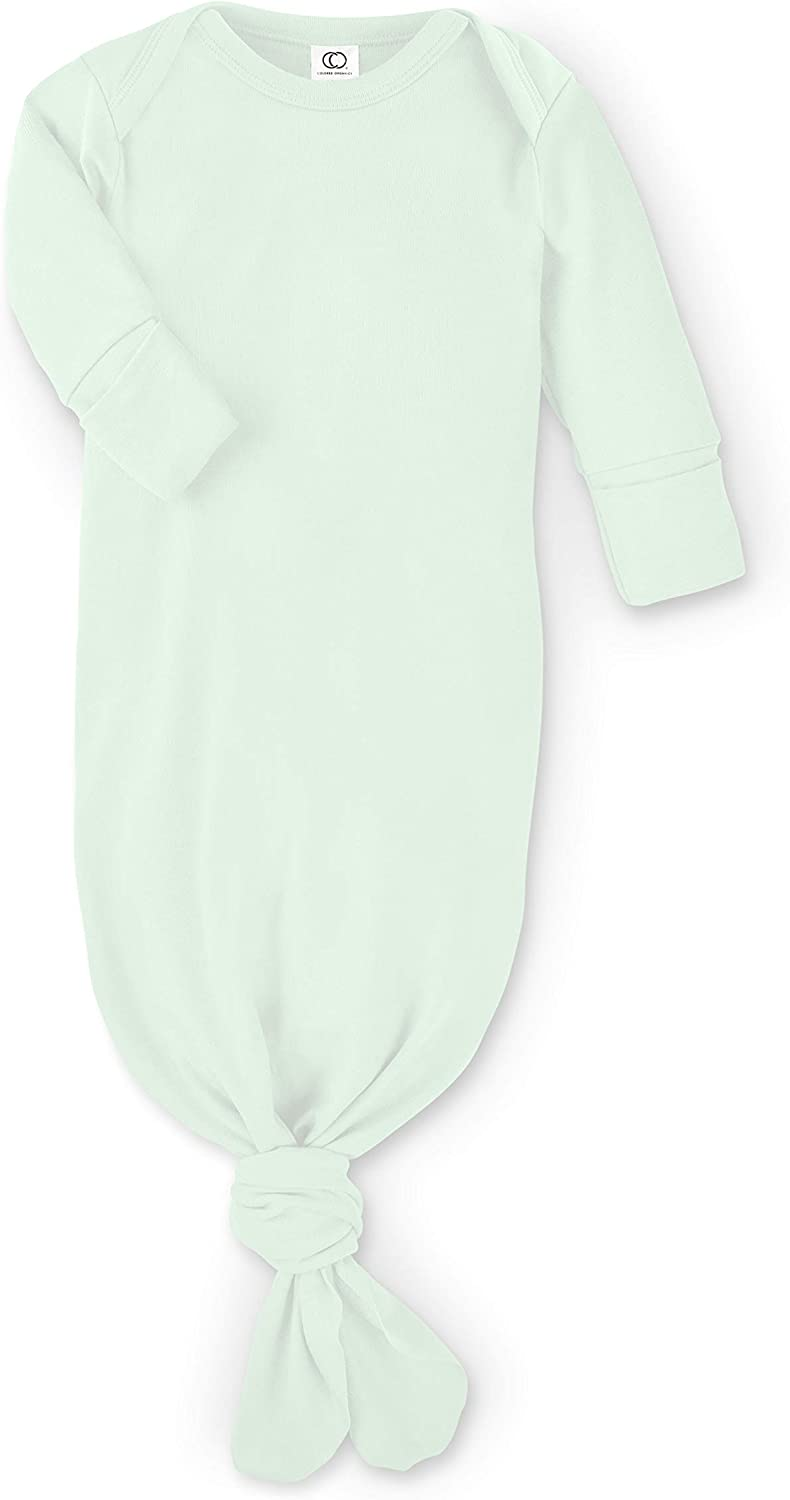 Colored Organics Baby Organic Cotton Knotted Gown - Infant Nightgown with Mitten Cuffs