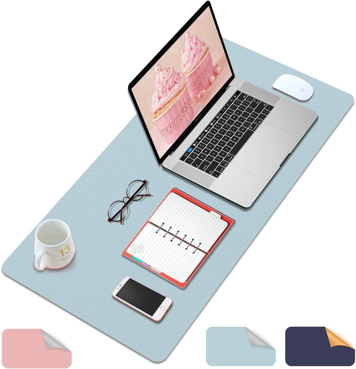 "Desk Pad, Office Desk Mat, PVC Leather Desk Blotter Protector, Laptop Desk Mouse Pad, Waterproof Writing Pad Large Desk Cover for Office and Home, Dual-Sided Use Light Blue& Silver 31.5""x15.7"""
